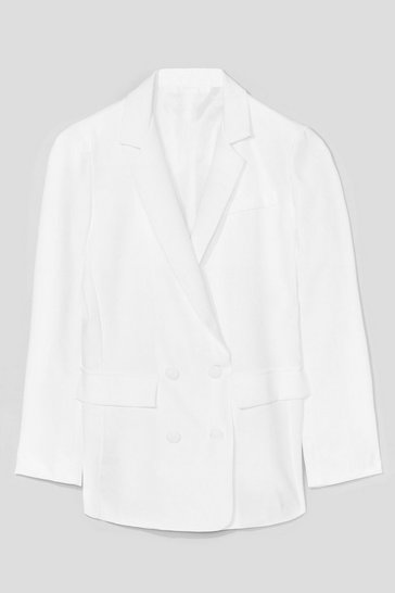 White Take Charge Double Breasted Tailored Blazer