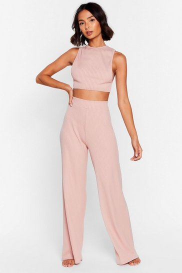 Blush Side Show Crop Top and Wide-Leg Pants Lounge Set