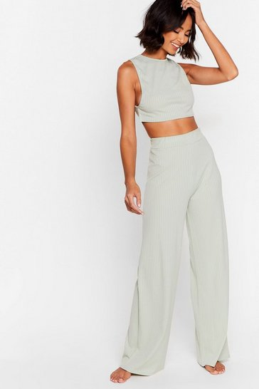 Sage Side Show Crop Top and Wide-Leg Pants Lounge Set