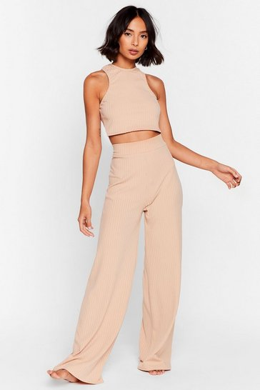 Stone Racerback to Bed Ribbed Wide-Leg Pants Lounge Set