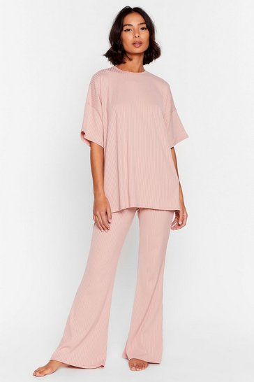 Blush Flare Your Soul Oversized Ribbed Lounge Set