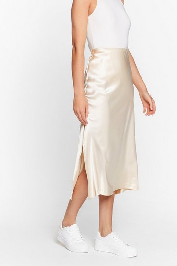 Almond High Waisted Satin Side Split Midi Skirt