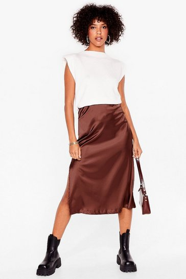 Chocolate Let's Kick Split Satin Midi Skirt