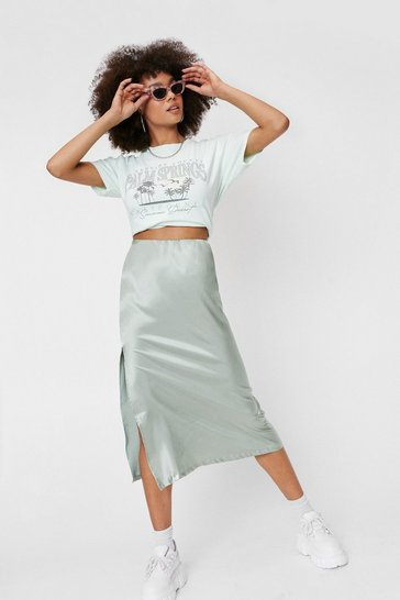 Pistachio High Waisted Satin Side Split Midi Skirt