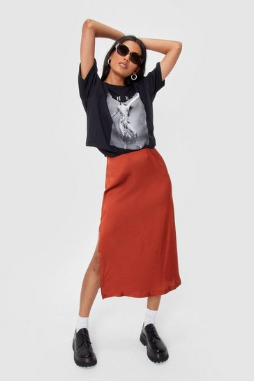 Rust Let's Kick Split Satin Midi Skirt