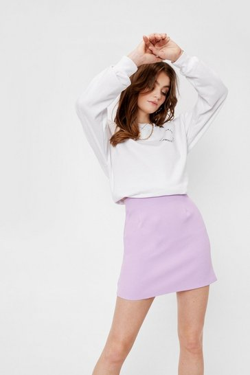 Lilac High Waisted A Line Mini Skirt