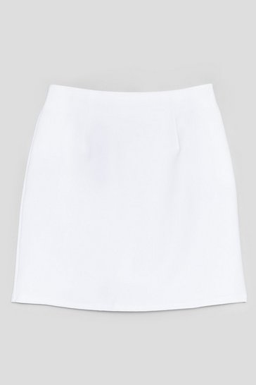 White High Waisted A Line Mini Skirt