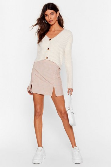 Beige Duo Slit Check Mini Skirt