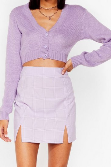 Lilac Check Me Out Slit Mini Skirt