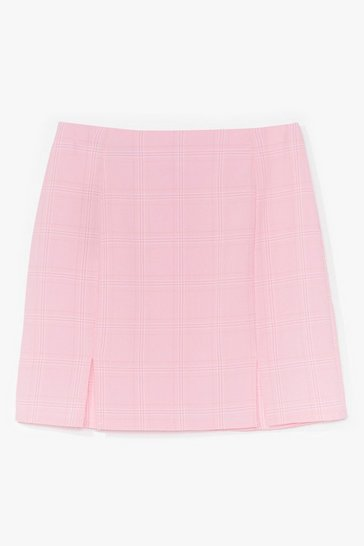 Pink Check Me Out Slit Mini Skirt