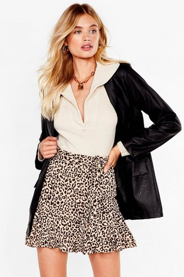 Beige Growl Power Leopard Mini Skirt