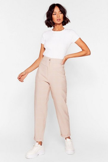 Beige Check Me Out High-Waisted Tapered Pants