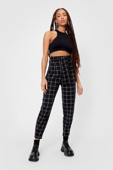 Black Checked in High-Waisted Belted Pants