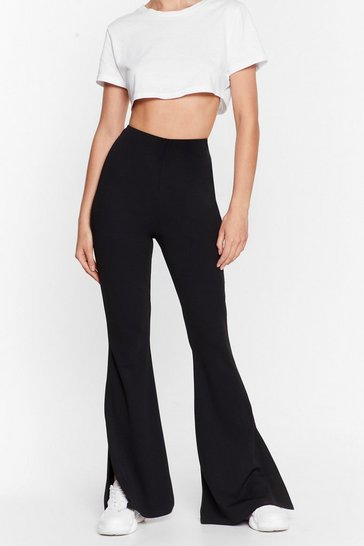 Black Flare You At High-Waisted Split Hem Trousers