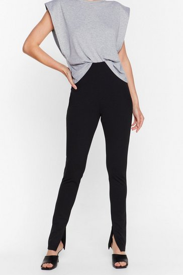 Black Split the Floor High-Waisted Pants