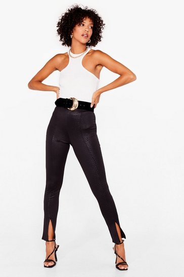 Black Forget Me Croc Slit Hem Skinny Trousers