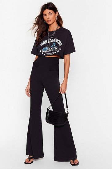 Black Pocket In High-Waisted Flare Trousers