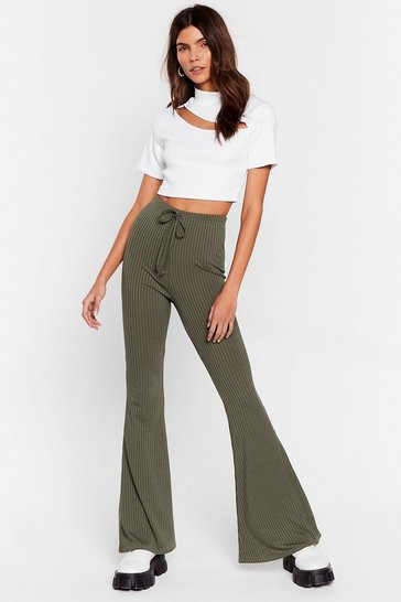 Khaki Flare-r Than That High-Waisted Pants