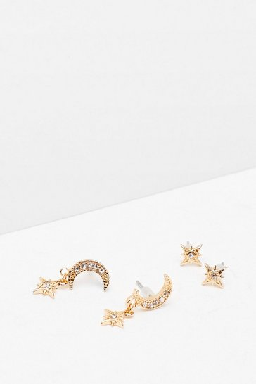 Gold To the Moon and Back Diamante 2-Pc Earrings