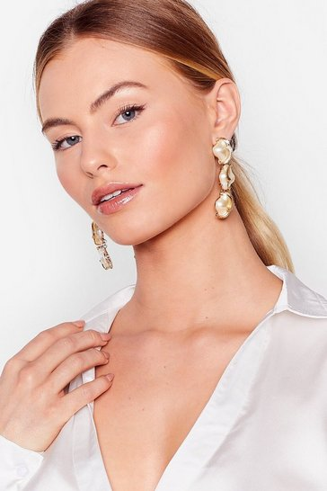 Gold Pearl Statement Earrings