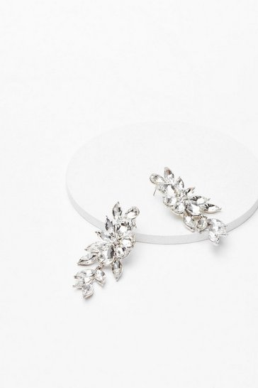 Silver Diamante Cluster Statement Earrings