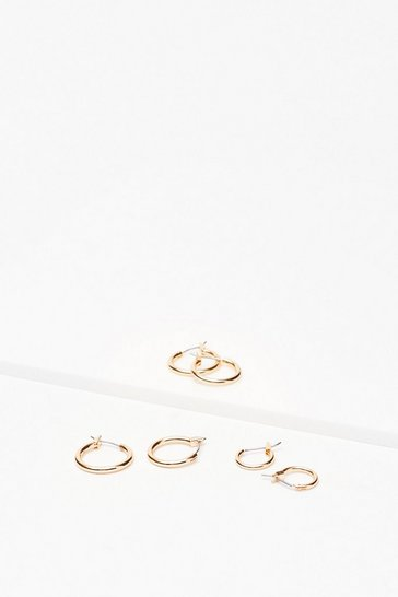 Gold Small Hoop 3 Pc Earring Set