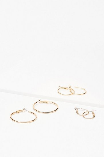 Gold Keep Us in the Hoop 3-Pc Earring Set
