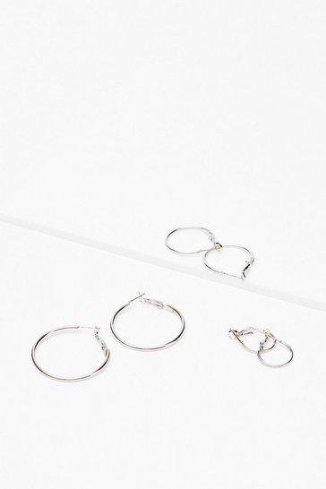 Silver Medium Hoop Earring Multipack