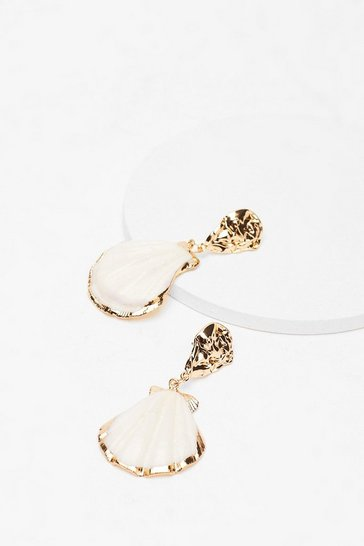 Gold Shell Yeah Drop Earrings