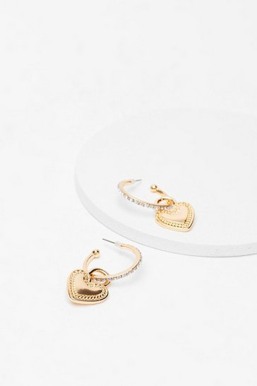 Gold Heart Drop Hoop Earrings