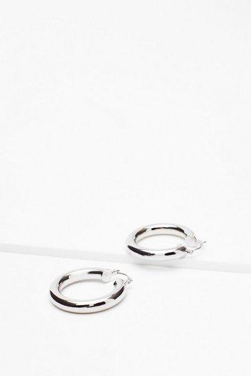 Silver Small Tube Hoop Earrings