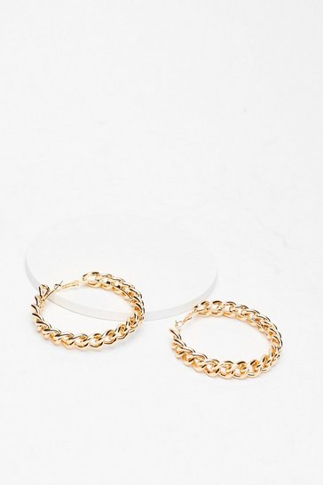 Gold Chain of Events Hoops Earrings