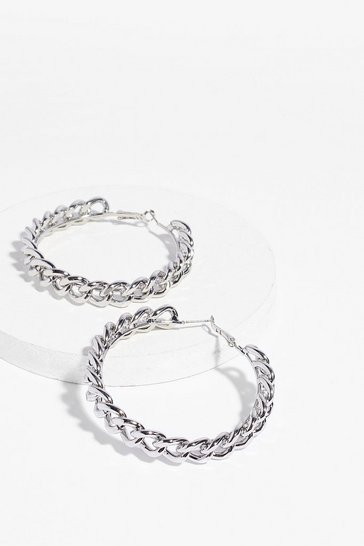 Silver Chain of Events Hoops Earrings