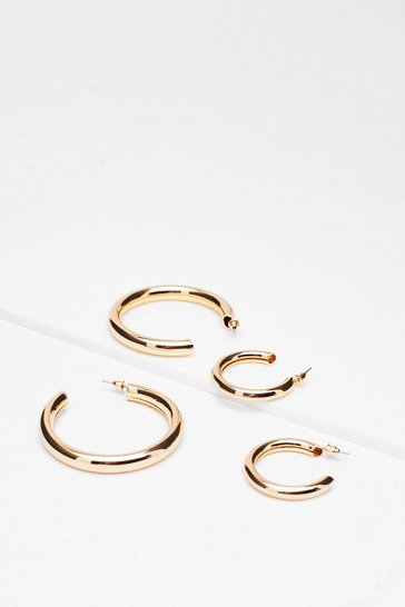 Gold Latch Hoop Earrings 2-Pc Set