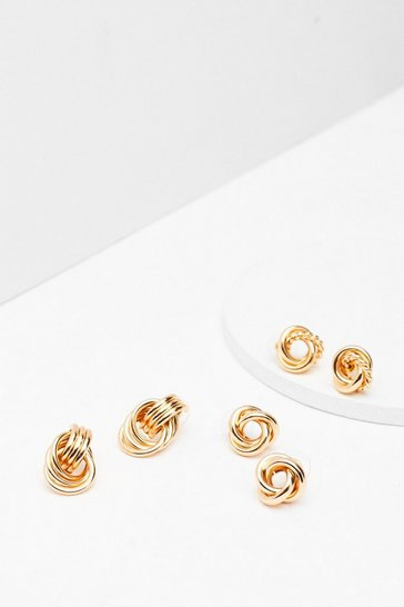 Gold Ornate Twisted 3-Pc Earring Set