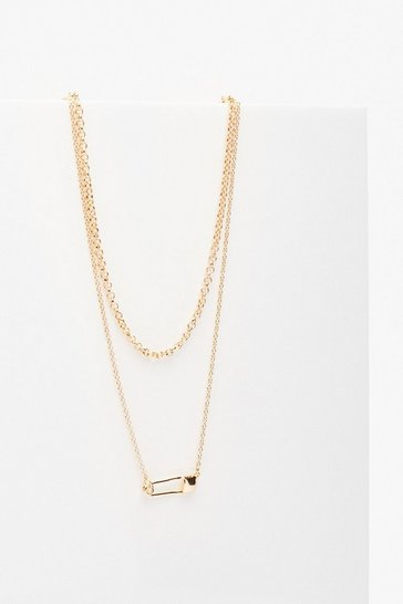 Gold Paper Clip Embellished Necklace