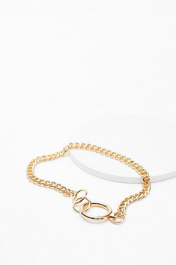 Gold In Chain Sight O-Ring Necklace