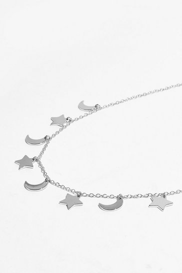 Silver Cosmic Changes Moon and Stars Necklace