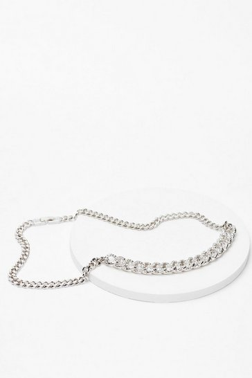 Silver Off the Chain Diamante Necklace