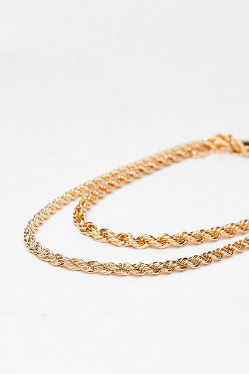 Gold Recycled Metal Layered Rope Chain Necklace