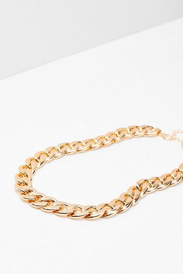 Gold Chunky Curb Chain Necklace