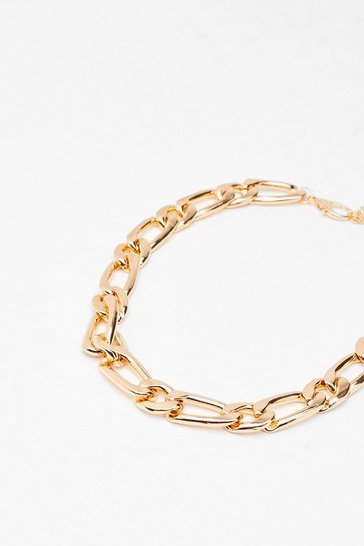 Gold Link Curb Chain Necklace