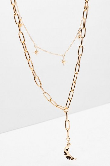 Gold Double Layered Star and Moon Necklace