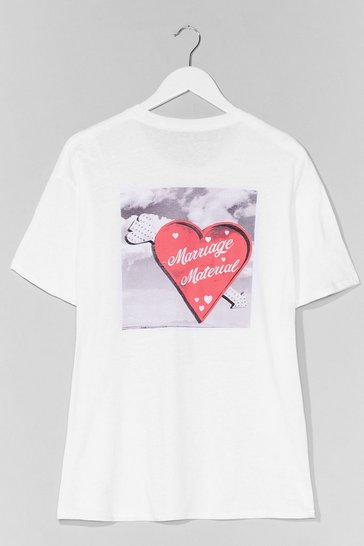 Grande Taille - T-shirt ample à impressions Marriage Material, White