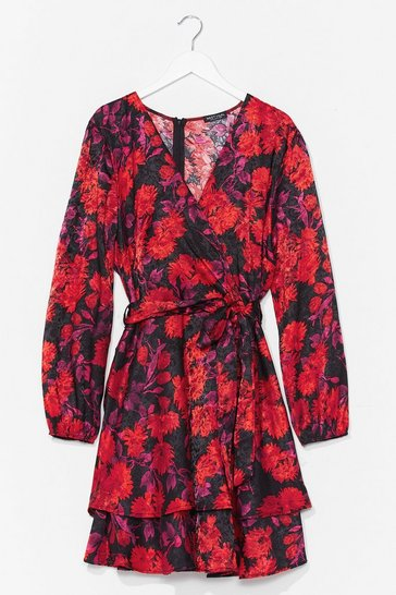 Black We're Bud to You Plus Floral Dress