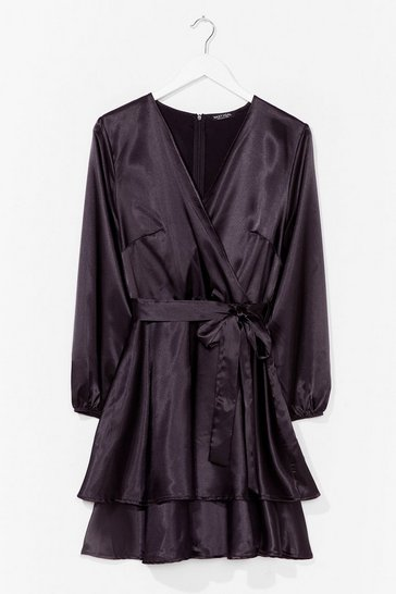 Black Plus Double Layer L/S Satin Mini Dress