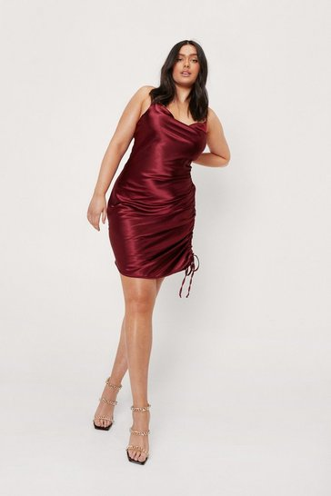 Burgundy Plus Size Ruched Cowl Neck Satin Mini Dress
