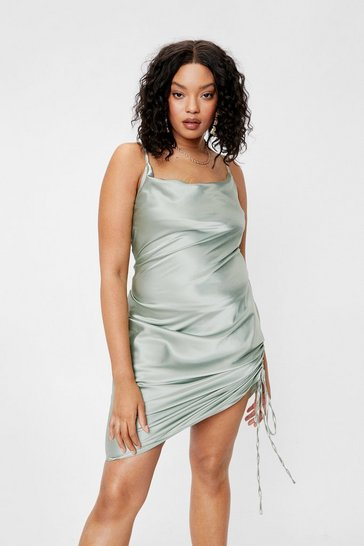 Sage Plus Size Satin Ruched Midi Dress