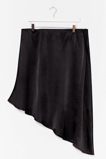 Black Plus Size Jacquard Asymmetric Midi Skirt
