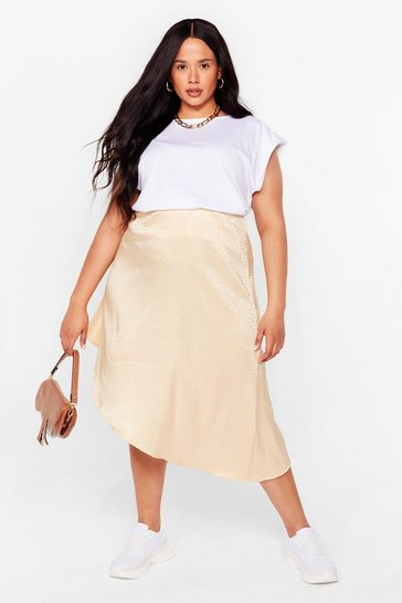 Gold Plus Size Jacquard Asymmetric Midi Skirt